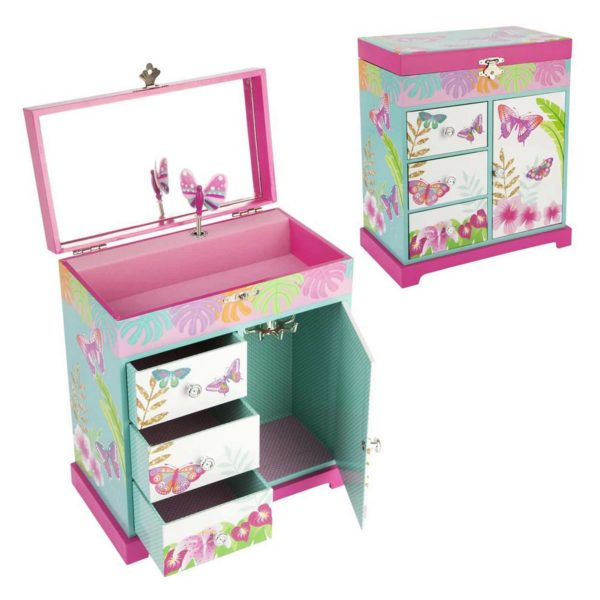 Pink Poppy Tropical Butterfly Music Box Large